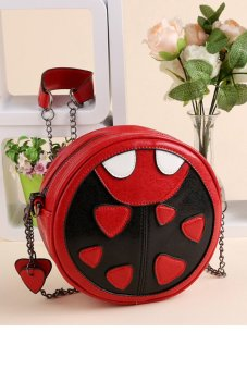 Cyber Fashion Women Synthetic Leather Chain Cross Messenger Shoulder Bag Red