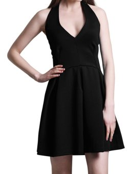 Zaful Women Polyester Strap Cocktail Dress Solid Color (Black) - Intl