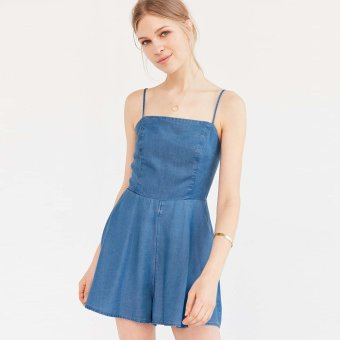 Zaful Braces Jean Jumpsuit Woman High Waist Casual (Blue) - Intl--TC