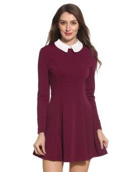 Linemart Women Turn Down Neck Long Sleeve Patchwork Zipper Pleated Dress ( Wine Red ) - intl