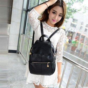 Linemart Girl's Women's Travel Artificial leather Backpack Shoulder Bag Handbag School Bag Black ( Black ) - intl