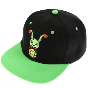 Unisex Men Women Adjustable Cartoon Hip-pop Cap Baseball Black+Green - INTL