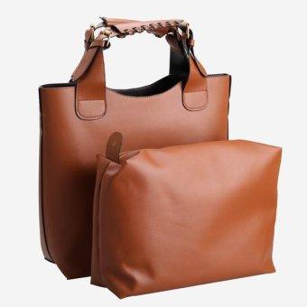 New Fashion Vintage Brown Faux Leather Handbag Shopper Tote Bag for Women (Intl)