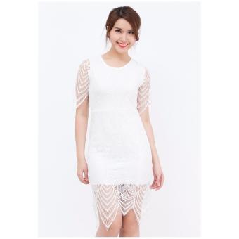 Đầm ôm midi Amun màu trắng phối ren DOM122-TRANG