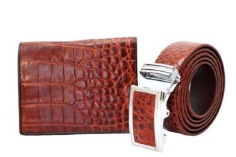 Bộ thắt lưng nam + bóp da namcá sấu ldz_78 ( Đỏ ).