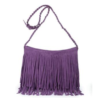 LALANG Women Tassel Suede Fringe Cross-body Shoulder Bag Handbag (Light Purple)