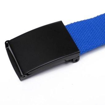 Unisex Plain Webbing Men Women Waist Waistband Casual Canvas Strap Belt Buckle Blue - Intl