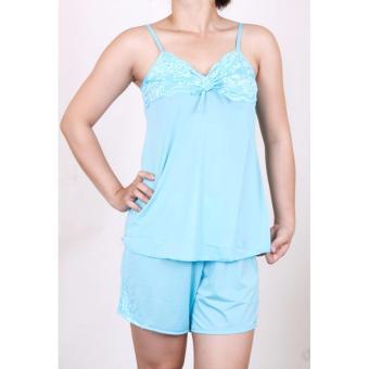 com bo 2 bộ đồ ngủ 2 dây thun lạnh sexy phối ren-HB178 (xanh, hồng)