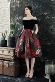 Đầm Xòe Trễ Vai Tùng Gấm In Hoa 3d