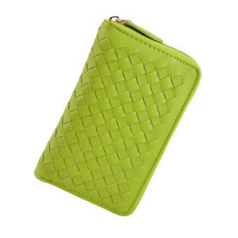Women Woven Zipper Purse Clutch Wallet (Green)