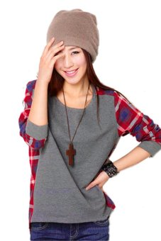 Sunweb Women Long Sleeve Crew Neck Plaid Checks Print Casual Loose Top T-Shirt - intl