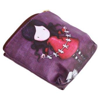 LALANG Mini Cute Cartoon Girl Canvas Coin Purse Key Wallet Storage Bag 3# - intl
