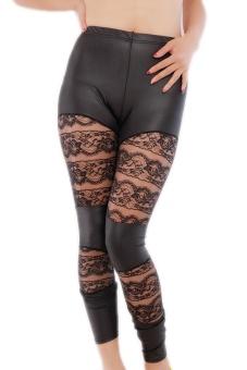 LALANG Lace Floral Leggings (Black) - Intl