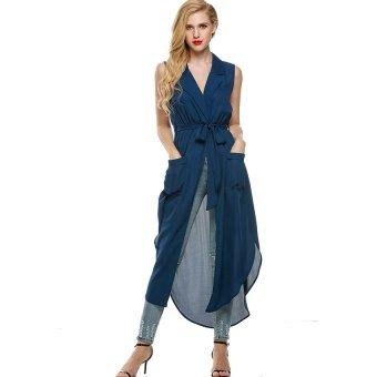 Cyber Zeagoo Women Sleeveless Slit Chiffon Maxi Shirt Dress With Belt ( Dark Blue ) - Intl