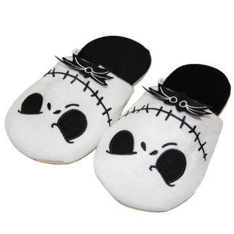 Adults Winter Indoor Plush Slipper Cartoon Halloween Skull Style Soft Warm Plush Slippers Average Size for EU 35-42 / US 4-11
