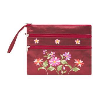 Ví cầm tay 3 khóa Hoian Gifts vải lụa thêu hoa (đỏ đô) HA-50A