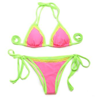 Colloyes 2015 New Sexy Pink Double Green Lace Trim Triangle Top With Classic Cut Bottom Bikini Swimwear Size M (Pink) - Intl