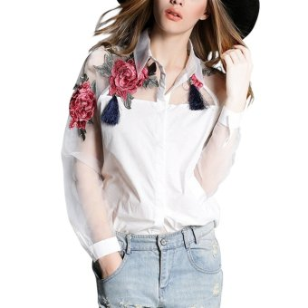 New Fashion Women Long Sleeve Embroidery Floral Print Blouse Elegant Collar Organza Patchwork Shirts White - Intl