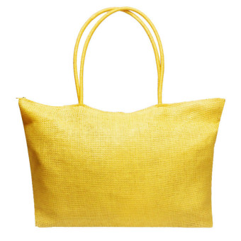 Simple Candy Color Large Straw Beach Bags Women Casual Shoulder Bag Light Yellow - Intl