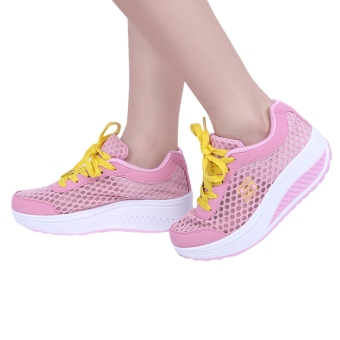Casual Mesh Color Block Lace Up Ladies Platform Shoes(Pink) - intl
