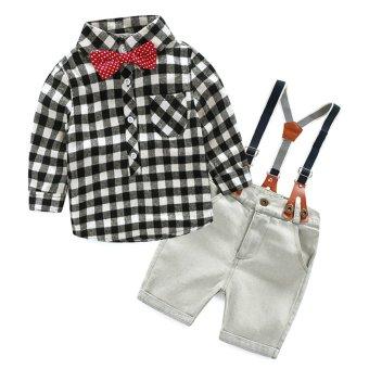 2PCs Denim Suspender Pants with Plaid T-shirt (White) - intl
