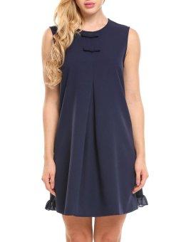 Cyber Women Bohemian Sleeveless Ruffles Bow Decor Solid O Neck Loose Dress ( Navy Blue ) - intl