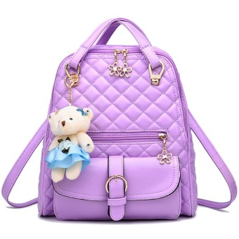 3 in 1 PU Leather Casual Outdoor Travel Handbag Backpack Shoulder Bag with Bear Pendant and Petal Shape Zipper Purple - intl