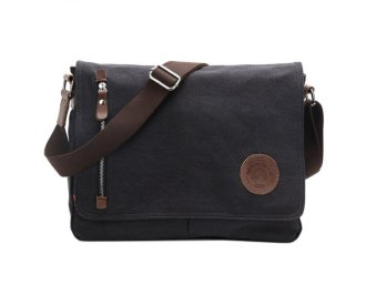 niceEshop Men's Vintage Canvas Schoolbag Shoulder Messenger Bag, Black