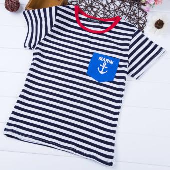 Leisure Boys T-shirt Stripes Printed Cotton Round Neck (Cadetblue) - intl
