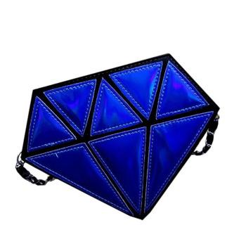 Women Hologram Diamond Shape Laser Holographic Crossbody Chain Messenger Bags E - intl