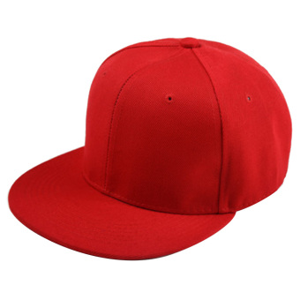 Unisex Polyester Cotton Adjustable Pure Color Plain Hiphop Sport Baseball Trucker Snapback Hat Cap Red - intl