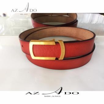 Thắt lưng nam mặt đồng da Thật DL:172D, thời trang Azado (Nâu đỏ)