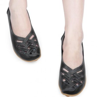 Casual Summer Flat Shoes Women Genuine Leather Hollow Soft Soled (Black) - intl