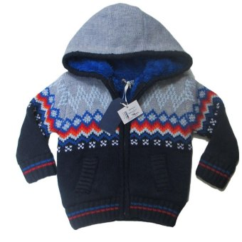 Áo khoác len có nón cho bé trai Luvable Friends (Xanh mực)