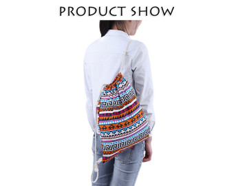 Ethnic Backpack Stripe Geometric Print DIY Strap Drawstring Canvas Vertical Bag(Blue) - intl