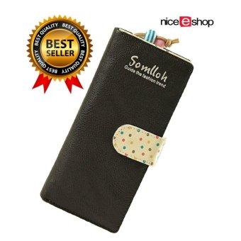 niceEshop Exquisite Designed Lady Card Holder PU Leather Zipper Phone Purse Wallet Bag, Black -