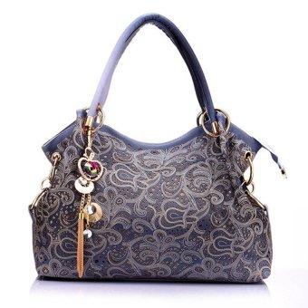 2016 NEW Hollow Out Large Leather Tote Bag 2016 Luxury Women Shoulder bags, Fashion Women Bag Brand Handbag Blue - intl