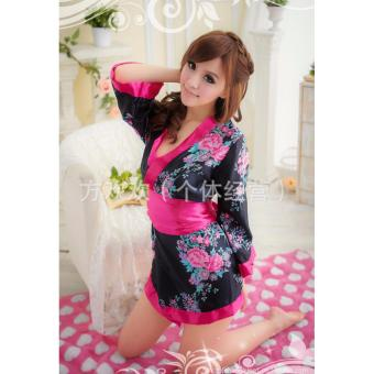 Đầm Ngủ Sexy Kimono Đen MS612