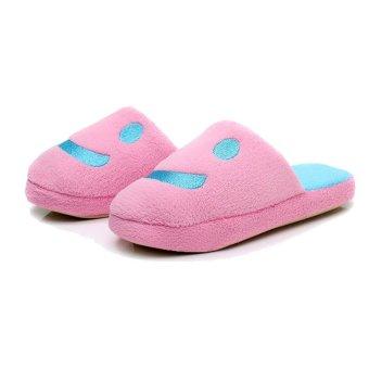 Cartoon Plush Lover Smile Women Shoes House Home Floor Warm Slippers Soft Antiskid Winter Slipper Pantufas Shoes Pink - intl