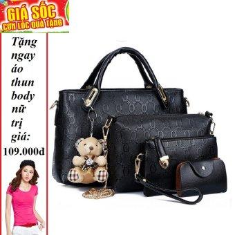 Bộ 4 túi họa tiết cao cấp (đen) + Tặng 1 áo thun body nữ
