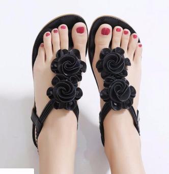 Giày Sandal Đế Bệt Nữ Phối Hoa - Ln1267 - Đen