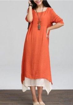 Original film spring 2017 new cotton and linen dress dress The loose big yards long sleeve skirt restoring ancient ways - intl