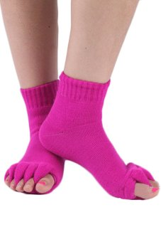 Bluelans Yoga GYM Massage Five Toe Separator Socks Foot Alignment Pain Relief 1 Pair Rose-Red (Intl)