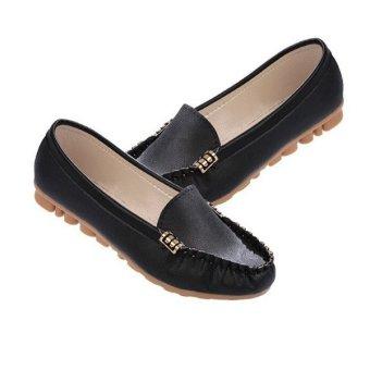 2015 Women Artificial Leather Flats Slip On Moccasins Ballet Loafer Boat Shoes - Intl