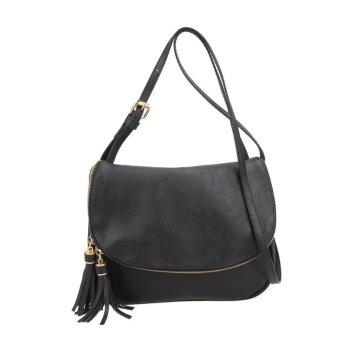 Women PU Leather Tassel Messenger Shoulder Crossbody Bag (Black) - intl
