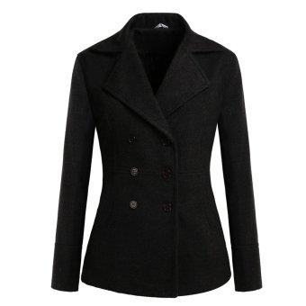 Cyber Meaneor Winter Women Casual Lapel Long Sleeve Double-breasted Wool Blend Coat Outwear (Black) - Intl