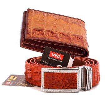 Bộ thắt lưng và ví nam da cá sấu thật chính hãng Da Giày Việt Nam VNL018ZL883 (Nâu)