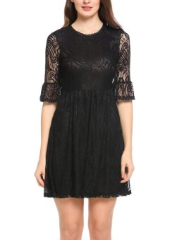 Cyber Women Lace Back Hollow Out Floral Ruffle Sleeve Sexy Mini Dress ( Black ) - intl