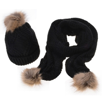 2 PCS Women Woolen Yarn Knit Cuffed Ski Winter Warm Fur Ball Design Hat Scarf Kit Black - intl