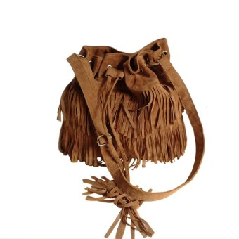 Fashion Women Vintage Shoulder Bag Fringe Tassel Drawstring Bucket Bag Messenger Handbag Brown (Intl)